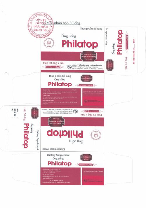 Nội dung công bố sản phẩm: Ống uống Philatop