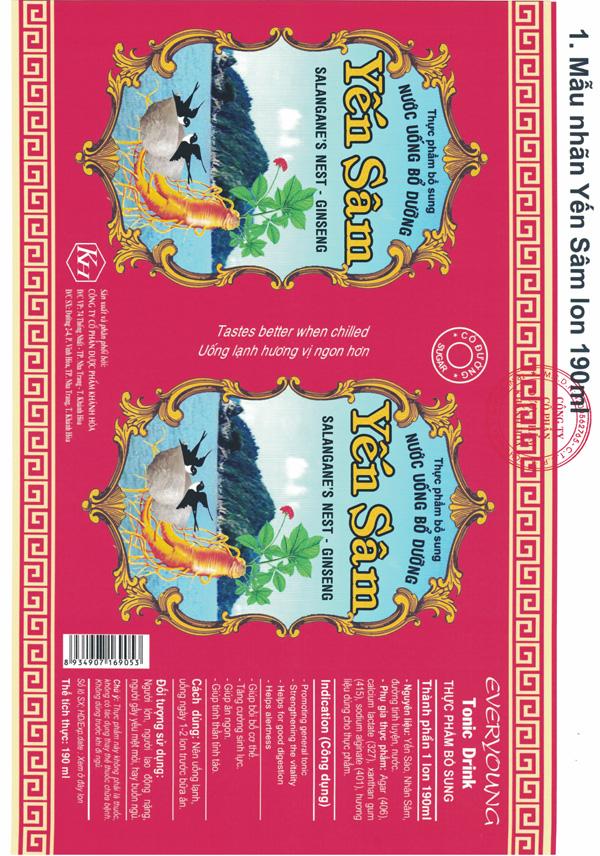Nước uống bổ dưỡng Yến Sâm Lon có đường 190ml